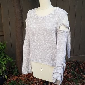 EXPRESS COLD SHOULDER WOMEN'S OATMEAL SWEATER XS